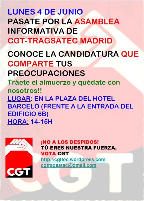Asamblea informativa de CGT Tragsatec Madrid